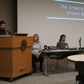 "PUARL 2018 -- Session on ""Climate Change Migration"", moderated by Briana Meier.  First up was Lacey Aley on ""Regenerative Thinking:  Addressing the Water Crisis in the Informal Sector"".  Second was Matthew Loudermilk on ""The Colectivo, Taina Soy, and Earthship Villabonuco"".  Third via video was Robert Walsh on ""Back to the Future: Transition Design and the Need for New Urban Patterns"".  (Portland Urban Architecture Research Lab International Conference, NW Couch Street, Portland, Oregon) 20181028"