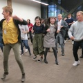 PLoP 2018 -- Afternoon energizing dance led by @MaryLynnManns @PLoPCon to wake up attendees expending mental energy.  Catering of snacks has been excellent, so opportunities to physically burn calories are welcomes.  (Pattern Languages of Programs, University of Oregon, Couch Street NW, Portland, Oregon) 20181025