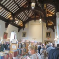 Seeley Hall -- Second day alumni book sale @Trinity_College busy at midday, line up to check out.  Recognized some of the books from the five boxes donated earlier in the year.  Picked up some volumes not readily available from the library, trying to not fill up our basement.  (Seeley Hall, Trinity College, Hoskin Avenue, University of Toronto, Ontario) 20181019