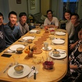 Thanksgiving dinner -- Opening home to extended family and friends, for a non-turkey menu.  Main course of Chinese beef stew, plus vegan mushrooms with beancurd sticks (foo jook), gai lan (broccoli), fuzzy melon (dit gwa) soup, beet-carrot salad.  Vegan pumpkin pie and coconut milk ice cream to accommodate dietary restrictions.  Of all attendees, I was the one who liked turkey most, before I gave up meat.  (Riverside neighbourhood, Toronto, Ontario) 20181007