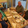 Alice and Friends -- Saved room for vegan chocolate mousse pie, raw key lime cheesecake, mint chocolate soy ice cream.  Splurged on satay skewers and dumplings, before main dishes pan-Asian.  Catching up on news since last year's visit, Northwestern U. put us together as family in 1980.  (Alice and Friends Vegan Kitchen, N. Broadway Street, Chicago, Illinois) 20180819