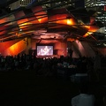 Pritzker Pavilion -- Free @TheSeaAndCake show, walking with @redesign around @Millennium_Park after dinner.  Families relaxing on blankets on the lawn in back, serious listeners up at the front.  A flashback to graduate school days, when I was living carefree in the Chicago area.  Natives are friendly.  (Pritzker Pavilion, Millennium Park, Chicago, Illinois) 20180816