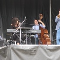Woodbine Park -- Cloudy @BeachesJazz @LailaBiali @Larnell_Lewis @RossMacIntyre William Sperandei show mixing jazz and reinterpreted pop music, with Canadian references.  Break from morning rain left muddy field, sun is losing against grey. (Beaches Jazz Festival, Woodbine Park, Toronto, Ontario) 20180722