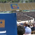 Cal Memorial Stadium -- UC Berkeley class of 2018 takes 1 hour in procession to fill the seats, audience capacity of 63,000 looks two-thirds full. Maddy's mother alumna says when she graduated decades ago, ceremonies were smaller by department, so campus-wide events are newer. Extended family attending only this event today, two more departmental events this week. Milestone sesquicentennial 150 years for UC. (California Memorial Stadium, University of California, Berkeley) 20180512