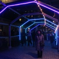 Toronto Light Fest -- Illuminated long house may not be official art installation, but the shell of a patio on Gristmill Lane.  Next to last night of Toronto Light Festival a destination for some walking exercise with crutches.  Near-freezing temperatures, but no snow, lots of photographers out.  (Gristmill Lane, Distillery District, Toronto, Ontario) 20180303