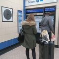 Heathrow 1-2-3 station -- Noticed Mark Wallinger (2013) Labyrinth 269/270 on the wall beside the first ticket machine that a traveller would encounter entering the Piccadilly line from Heathrow Airport Terminals 1, 2 and 3.  One of the unique 270 works in vitreous enamel, black lines with a red X to cue the pathway.  Commissioned for the 150th anniversary of the London Underground.  I hadn't paid attention on prior trips to London, but I forgot my Oyster card at home, and thus purchased and got a refund on another for the 2 day visit.  (Heathrow Terminal 1-2-3 Underground station, London, UK) 20171208