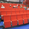 HAMK -- Saturday lecture to master's students scheduled in the luxury of space of a large classroom.  Reorganized discussion into small groups, sitting around a table might have improved interactions.  In a new building on the university campus.  (HAMK Häme University of Applied Sciences, Hämeenlinna, Finland) 20171202