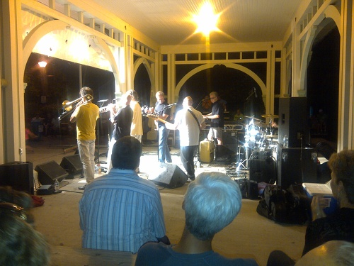 Brass Transit at Unionville Bandshell after dark