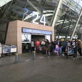 PVG Terminal 2 -- Lineup with baggage x-ray is standard not only to enter airport terminal, but also railway station, and even municipal metro.  Travel time from French Concession to PVG was 55 minutes with a reserved taxi driver.  Another hour added for the building queue, checking in luggage, clearing exit border security, and hand luggage x-ray scan.  After 23 days away, looking forward to a return to normalcy at home, after a 12-hour time zone change.  (Shanghai Pudong International Airport, Terminal 2, PR China) 20190404