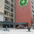 Adelaide Courtyard -- Installation #StaceySpiegel (1991) Synthetic Eden, in courtyard hidden behind One Financial Place at Yonge Street and Adelaide Street, large decal looming above on 20 Victoria Street.  Discovered on leisurely bike exploration on Victoria Day Monday, when both business people and tourists were not prowling the sidewalks.  Art isn't obvious from Adelaide Street, behind a maze of frosted glass walls.  Location is not to be confused with the Richmond-Adelaide Square Courtyard, a few blocks further west on the other side of Bay Street.  (Adelaide Courtyard, 87 Yonge Street and 20 Victoria Street, Toronto, Ontario) 20190520