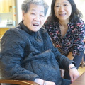 Simon KY Lee Home -- Short visit for DY with mother on fly-though loose connection at YVR.  Shared dim sum, strawberries and peach.  Short walk around the courtyard to enjoy the bright summer day on the west coast.  Then Canada Line back to the airport, and we're continuing our journey southbound.  (Simon KY Lee Senior Care Home, Carrall Street, Vancouver, BC) 20190626