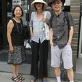 Sushi Bistro -- Post-sushi lunch, 3 ex-Vancouver natives stepped out into a hot day, two had sun hats.  We live relatively close to each other, just needed follow-through to pick a time and place.  Checking in on news of family and friends.  Food constraints were less restrictive than our last visit. (Sushi Bistro, Danforth Avenue, Toronto, Ontario) 20190729