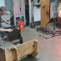 Harbourfront Centre -- Cycle of heating glass in furnace, shaping with pliers and then applying torch @HarbourfrontTO Craft and Design studios. Curves might have been for the neck of a bird in glass, I didn't observe any blowing.  Watching artists at work always a warm venue, particularly on the first day clocks return to standard time, and darkness comes earlier.  (Harbourfront Centre, Queens Quay West, Toronto, Ontario) 20191103