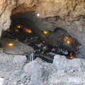 La Gruta -- Family lunch in a cavern formed by volcanic activity, near the pyramids at Teotihuacan.  Sampled pre-Hispanic cuisine, including caterpillars from agave plants, turkey and rabbit.  Popular venue with many families on Sunday afternoon, shade welcomed after a sunny day up and down the nearby climbs.  (La Gruta, Teotihuacan, Mexico) 20191223