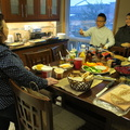 Heartland neighbourhood -- Annual Superbowl ritual featuring hamburgers grilled outside, cold but not blizzard conditions this year.  Broke vegan regime as indulgence with family.  Larger attendance of millennials this year, some boomer regulars cancelled last minute due to colds.  (Heartland neighbourhood, Mississauaga, Ontario) 20200202