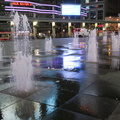 Yonge-Dundas Square -- At @YDSquare, waterplay fountains installed by #DanEuser #Waterarchitecture circa 2002 have been turned back on.  This signals progress in reopening of the city, after the pandemic shutdown.  Filtration system keeps the sprays above pool-level quality.  (Yonge-Dundas Square, Toronto, Ontario) 20200714