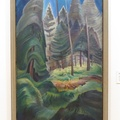 "Vancouver Art Gallery -- Alienated by the Euro-Canadian style of the period, #EmilyCarr (1935) ""A Rushing Sea of Undergrowth"" adopted the expressive power of the forest in a deliberately limited palette of greens and blues.  In later reflection, she said that she was interested in the abstraction of #LawrenHarris, but chose to retain her vision of being of nature, rather than next to it.  Part of the exhibition of ""Rapture, Rhythm and the Tree of Life"".  (Vancouver Art Gallery, Hornby Street, Vancouver, BC) 20201027"