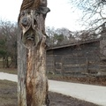 Riverdale Park West -- Tree carved with owls on top, and raccoon inside, located just south of Riverdale Farm.  In the open air, families together and friends socially distanced in clusters, despite the local attractions closed for pandemic lockdown mandated by the province.  Horses visible in the pens at the periphery behind closed gates.  (Riverdale Park West, Riverdale Park Road at Carlton Street, Toronto, Ontario) 20210116