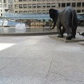 Commerce Court -- Bronzes cast by #DerrickStephanHudson (2002) Tembo, Mother of Elephants, on loan from collection of #LouOdette.  The life-sized cow, trailed by two calves, was scaled up the smaller statues originally collected from Florida.  In the mixture of a 1931 Beaux Arts north tower, the three 1983 towers west east and south by I.M. Pei have the wildlife headed for the pond and fountain.  (Commerce Court, Bay Street, Toronto, Ontario) 20210602