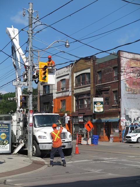 Queen Street East at Logan Avenue