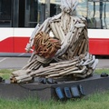 Neville Park Loop -- In daylight #TheliaShelton (2021) Share the Love sculpture from March @makewavesTo Luminosity exhibition doesn't have the red glow visible at night.  Installation sees empty streetcars loop from eastbound to westbound multiple times per hour.  Driftwood endures beyond the one-month official period int he spring.  (Neville Park Loop, Queen Street East, Toronto, Ontario) 20200909